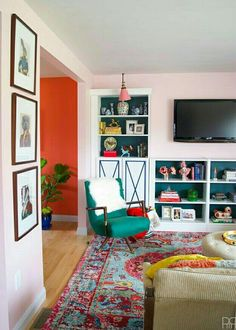 Eclectic Home Tour of PMQ for Two - get tons of renter friendly decorating and DIY ideas like the inexpensive bookcases that look like custom built-ins Colourful Living Room, Living Room Colors, Living Room Designs, Living Room Paint, Living Room Decor, Living Area, Living Rooms, Murs Roses, Piece A Vivre