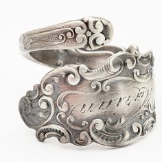Sterling Silver Spoon Ring Antique Art Nouveau Engraved, circa 1897 Handmade to your size (535)