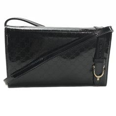 503915406c1f 354086 Nice Micro Guccissima Wallet Handbag Black Patent Leather Cross Body  Bag