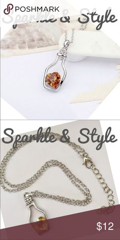 💛Amber heart in bottle necklace Beautiful silver tone, Amber heart in bottle necklace. Give a heart to someone special!🌟11🌟 Sparkle & Style Jewelry Necklaces