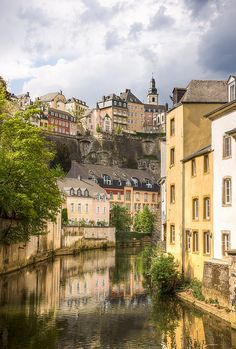 Old town seen from Grund quarter, Luxembourg City, Luxembourg