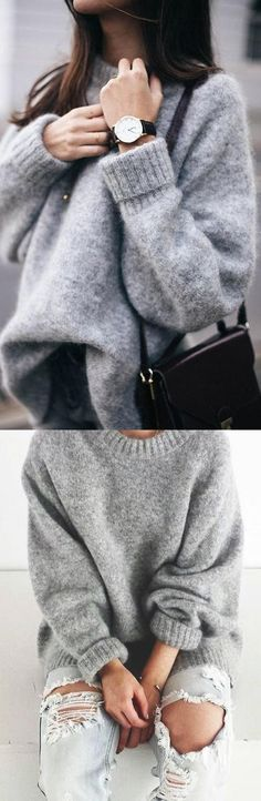 Nadire Atas Cozy Autumn Fashion Laze: The Perfect Knit Pullover Sweater Sweater Outfits, Fall Outfits, Casual Outfits, Cute Outfits, Sweater Fashion, Sweater Coats, Dress Casual, Grey Sweater, Look Fashion
