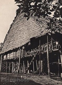 1940-Original-BORNEO-KAYAN-LONG-HOUSE-Home-Architecture-Photo-Gravure-K-F-WONG
