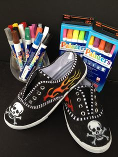 *Rook No. recipes, crafts & whimsies for spreading joy*: How to Customize your Kicks & Trick Out Your Sneakers with Elmer's Painters Painted Canvas Shoes, Custom Painted Shoes, Painted Sneakers, Hand Painted Shoes, Custom Shoes, Canvas Sneakers, Cat Shoes, Sock Shoes, Ballerinas