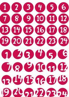 Adventskalender Zahlen zum Ausdrucken 1 bis 24 weiß auf rot www.meinesvenja.de