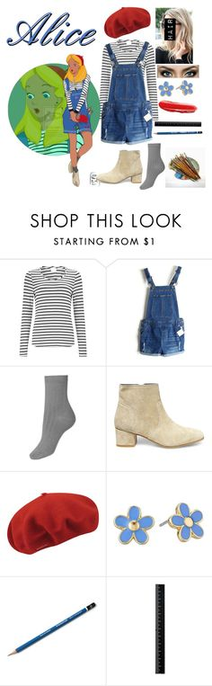 """Disney Gone College - ALICE"" by blackest-raven ❤ liked on Polyvore featuring EAST, Disney, Steve Madden, kangol and Marc by Marc Jacobs"