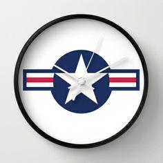 US Air force Roundel insignia Wall ClockUS Air force Roundel insignia symbol star USA Military Airforce Us Air Force, Tech Accessories, Military, Art Prints, Wall Clocks, Star, Design, Art Impressions, Fine Art Prints