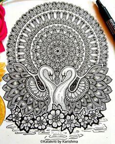 And I feel, nothing could be more satisfying to me than combining two things that I love the most; Nature and Art. Mandala Doodle, Mandala Art Lesson, Mandala Artwork, Mandala Painting, Madhubani Painting, Doodle Art Drawing, Mandala Drawing, Art Drawings Beautiful, Art Drawings Sketches Simple