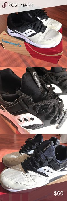 Saucony Grid 9000 White / black / and tan colored Saucony. They're a men's size 10.5. They come with the original box. In excellent condition. Only worn a few times. Make an offer Saucony Shoes Sneakers