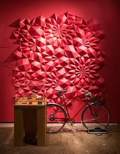 Paper art installation at @Shinola Detroit by artist Matt Shlian