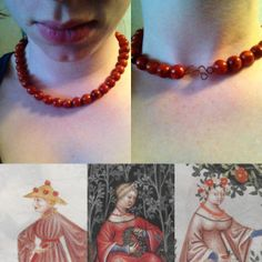 Red coral necklace from late 14th c Italy made by Ylffwa Urwäder