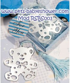 Recuerdos para Baby Shower - Separadores Osito Azul - Disponible en www.pkts-babyshower.com
