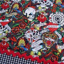 ed hardy fabric in Fabric Crafts Ed Hardy Tattoos, Fabulous Fabrics, Tigers, Fabric Crafts, Skulls, Cotton Fabric, Hearts, Yard, Grey