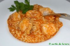 Arroz caldoso con rape y langostinos Couscous, Quinoa, Rice Dishes, Mediterranean Recipes, Chowder, Macaroni And Cheese, Seafood, Food And Drink, Cooking