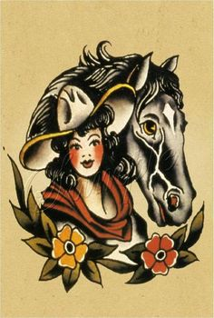 The Best Temporary Lady and Horse - Sailor Jerry tattoos. Only EasyTatt Lady and Horse - Sailor Jerry Tattoos Look Real, Use Your Own Design or Choose from Thousands of Designs. Cowgirl Tattoos, Western Tattoos, Horse Tattoos, Tatoos, Sailor Jerry Tattoo Flash, Tattoo Flash Art, Tattoo Art, Retro Tattoos, Vintage Tattoos