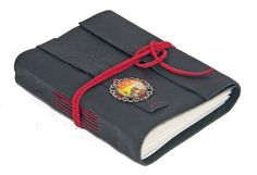 Black Leather Wrap Journal with Retro Comic Cameo Bookmark - Ready To Ship -
