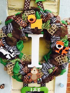 Safari Baby Hospital Door Wreath by East2Nest on Etsy