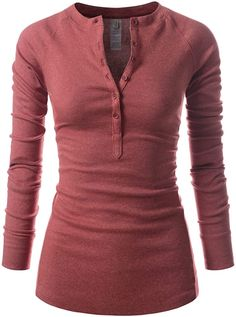 Women's Henley, Henley Shirts, Red Long Sleeve Tops, Long Sleeve Shirts, Runners Outfit, Autumn T Shirts, Nursing Clothes, Casual T Shirts, Tunic Tops