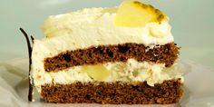 Sjokoladekake med pære - En kremkake med sjokolade som dynkes kraftig. Pynt evt. med ferdigkjøpte sjokoladeflak eller annen pyntesjokolade.