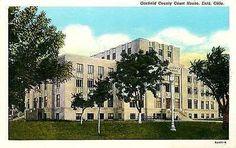 Enid Oklahoma OK 1935 Garfield County Court House Antique Vintage Postcard