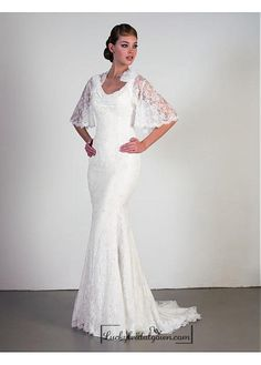 Beautiful Elegant Exquisite Sheath Scoop Lace Wedding Dress In Great Handwork