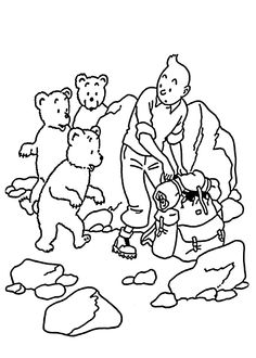 Tintin with little bears coloring pages for kids, printable free - Adventures of Tintin