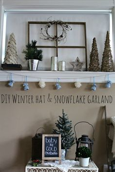 Yarn Winter Hat & Snowflake Garland