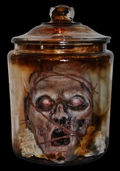 Barbed Wire Zombie Head In An Apothecary Jar