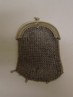 antique French solid silver chain mail double sided chatline purse clasp top in Antiques, Silver, Solid Silver | eBay