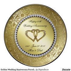 Shop Classic Golden Wedding Anniversary Porcelain Plate created by Digitalbcon. Personalize it with photos & text or purchase as is! Golden Anniversary Gifts, Wedding Anniversary Celebration, Beautiful Wedding Invitations, Wedding Invitation Design, Special Text, Personalized Plates, Custom Plates, Cake Pictures, Gift For Lover