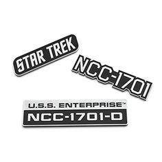 Let this set of 3 Star Trek U.S.S. Enterprise Car Emblems make your fandom known even when you're on the road. Comes with the original logo, NCC-1701, and a U.S.S. Enterprise NCC-1701-D, making both TOS and TNG fans happy.