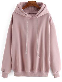 Hooded Drawstring Loose Pink Sweatshirt                                                                                                                                                      More