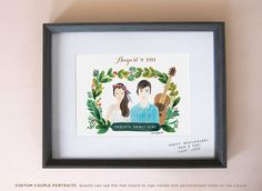 Custom Parents' Anniversary Gift, Wedding Anniversary Gift, Custom Couple Illustration Portrait, by mintybasildesign, $95.00