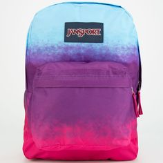 JanSport Superbreak Backpack ($36) ❤ liked on Polyvore featuring bags, backpacks, accessories, purses, purple night ombre, jansport bags, purple backpack, jansport, jansport daypack and padded backpack