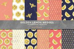 A personal favorite from my Etsy shop https://www.etsy.com/listing/292329803/golden-lemon-wedges-digital-papers-with
