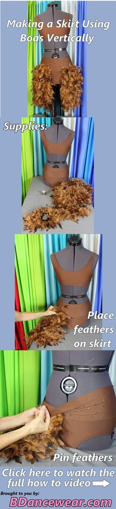 How to make a skirt using boas vertically for a dance costume.