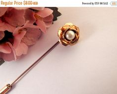 Pearl Rose Stick Pin Gold Overlay Flower by SpringJewelryThings
