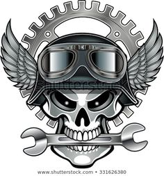 Find Biker Skull Emblem stock images in HD and millions of other royalty-free stock photos, illustrations and vectors in the Shutterstock collection. Thousands of new, high-quality pictures added every day. Motorcycle Art, Bike Art, Piston Tattoo, Moto Logo, Biker Tattoos, Harley Davidson Art, Biker Quotes, Skull And Bones, Skull Art