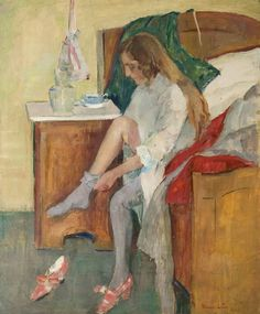 Woman on Bed - Henrik Lund , 1908 Norwegian , Oil on canvas Lund, Edvard Munch, Edouard Manet, Ludwig, Impressionist Art, Oil On Canvas, Illustration Art, Artwork, Woman