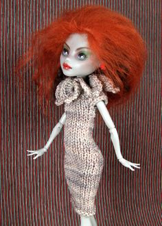 Knit dress with Lotus collar for Monster High dolls by WellerMade, $30.00