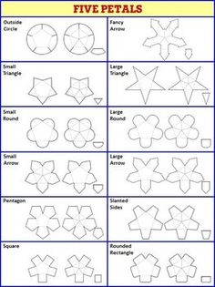 Interactive Notebook Templates - Easy to Cut Petal Pack - 108 Templates! Stationery Templates, Card Templates, Homemade Gift Boxes, Folded Paper Flowers, Islamic Patterns, Fancy Fold Cards, Flower Template, Crafty Craft, Interactive Notebooks