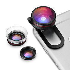 VicTsing Clip-op Telefoon Lens Fisheye Lens + Macro + Macro Lens 3 in 1 lens kit voor iphone 7 6 s plus 6 samsung (geen Doos) Iphone Camera Lens, Android Camera, Camera Apps, Macro Camera, Iphone 7, Samsung, Nikon, Fotografia Macro, Ipad