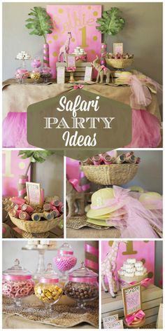 Junge safari zoo party ideas for kids. Catering ideas for children's birthday party with animal theme. Simple table setting ideas and easy cheap decorations for kids party. Pink and gold safari theme for little girl