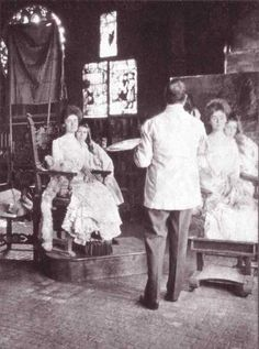 Sargent painting Gretchen Warren and her daughter Rachel in the Gothic Room at Isabella Stewart Gardner's house.