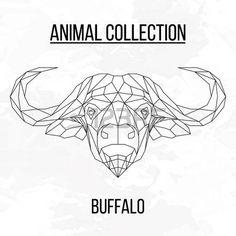 líneas geométricas de la cabeza del búfalo de la silueta sobre fondo blanco elemento de diseño de la vendimia Vectores