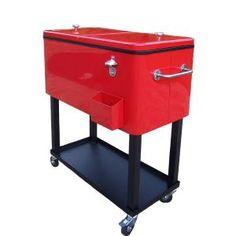 Oakland Living 80 qt. Steel Red Patio Cooler Cart
