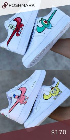 "Nike Air Force 1 ""Spongebob"" PLEASE message/comment before you buy a custom! Sneakers Mode, Sneakers Fashion, Shoes Sneakers, White Nike Shoes, Nike Shoes For Men, Nike Custom Shoes, Jordan Shoes Girls, Nike Shoes Air Force, Custom Painted Shoes"