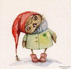 Super cute owl by the artist Inga Paltser Animals Watercolor, Watercolor Paintings, Owl Paintings, Watercolours, Art And Illustration, Art Illustrations, Art Fantaisiste, Art Mignon, Owl Pictures