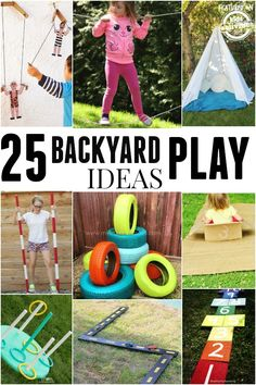 25 Ideas To Make Outdoor Play Fun Lots of super fun outdoor play ideas. Turn your backyard into the coolest place for your kids! Kids Outdoor Play, Outdoor Activities For Kids, Backyard Play, Outdoor Fun, Toddler Activities, Games For Kids, Diy For Kids, Crafts For Kids, Summer Activities