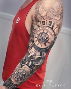 Clock Tattoo Sleeve, Nautical Tattoo Sleeve, Wolf Tattoo Sleeve, Best Sleeve Tattoos, Arm Band Tattoo, Tattoo Clock, Angel Tattoo Designs, Tattoo Sleeve Designs, Voll Arm-tattoos